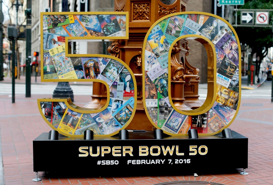 Super Bowl 50 art is seen on Market St. on Sunday, Jan. 31 2016 in San Francisco, Calif. (Ben Liebenberg via AP)